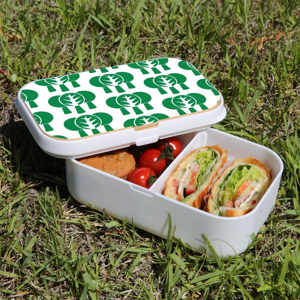 Lunch Box Food Container Picnic Authentic Wood Strap Cutlery Green Tree Pattern