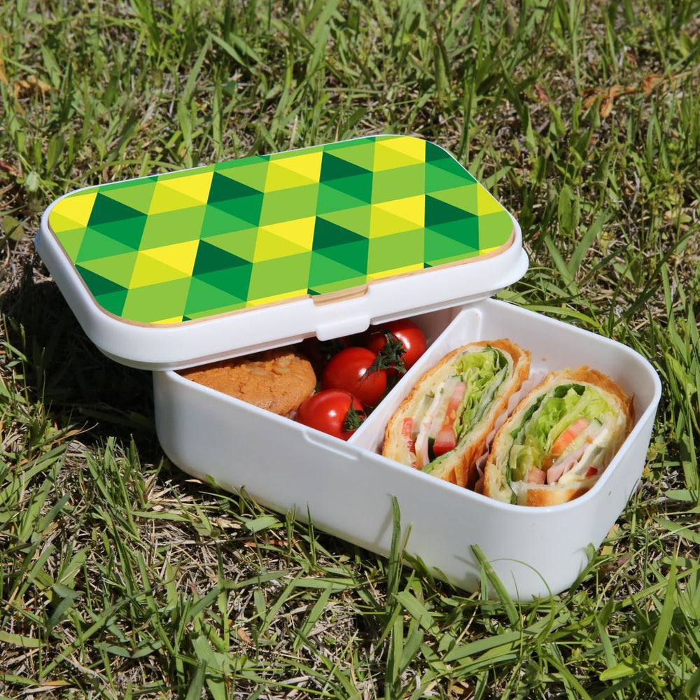 Lunch Box Food Container Authentic Wood Strap Cutlery Green Yellow Pattern