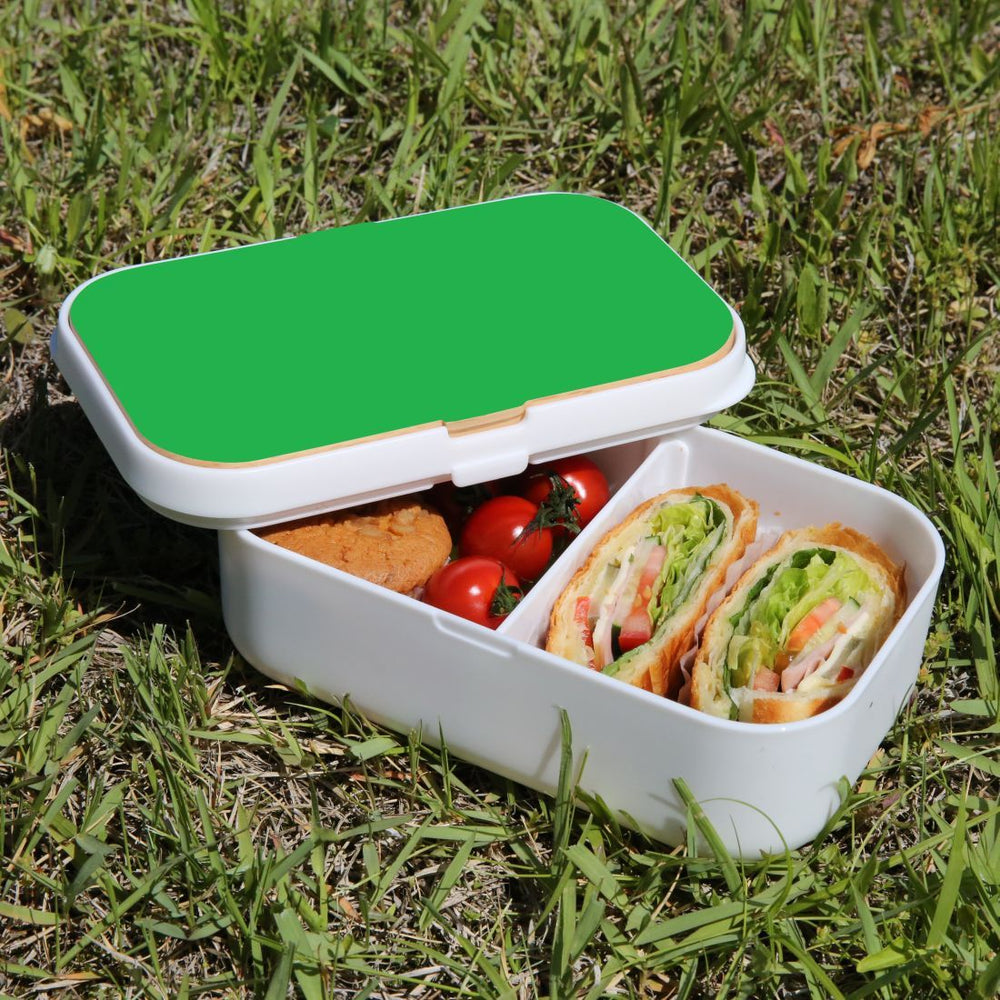 Lunch Box Food Container Snack Picnic Authentic Wood Strap Cutlery Green