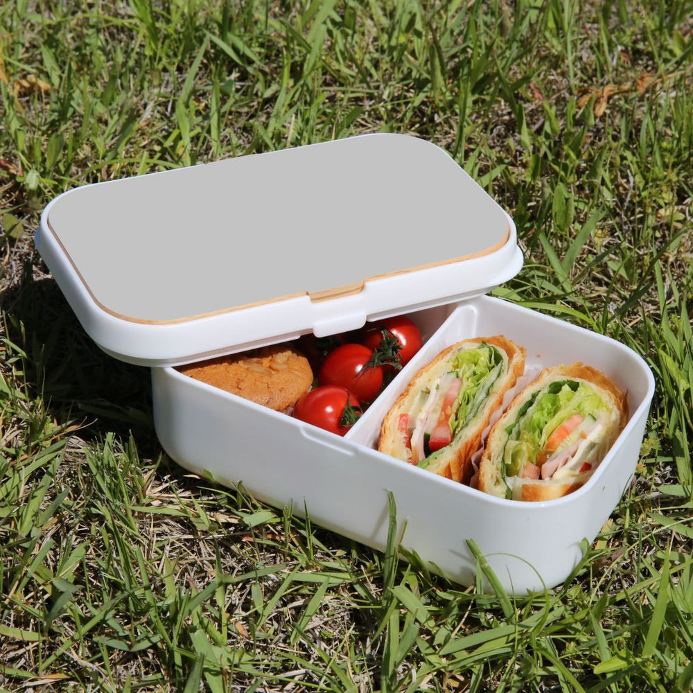 Lunch Box Food Container Snack Picnic Authentic Wood Strap Cutlery Grey