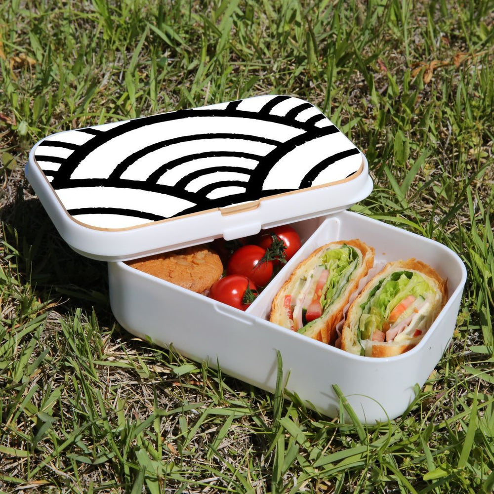 Lunch Box Food Container Snack Picnic Authentic Wood Strap Cutlery Japanese Wave