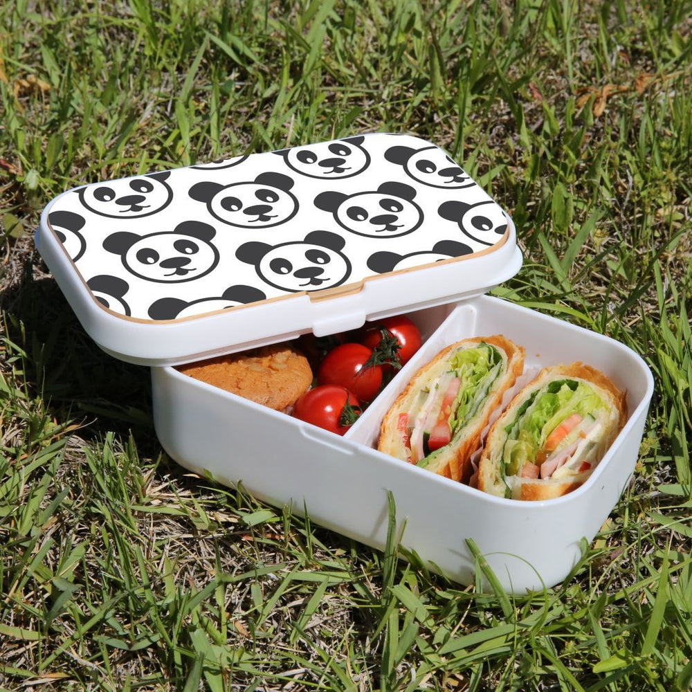 Lunch Box Food Container Snack Picnic Authentic Wood Strap Cutlery Lovely Panda