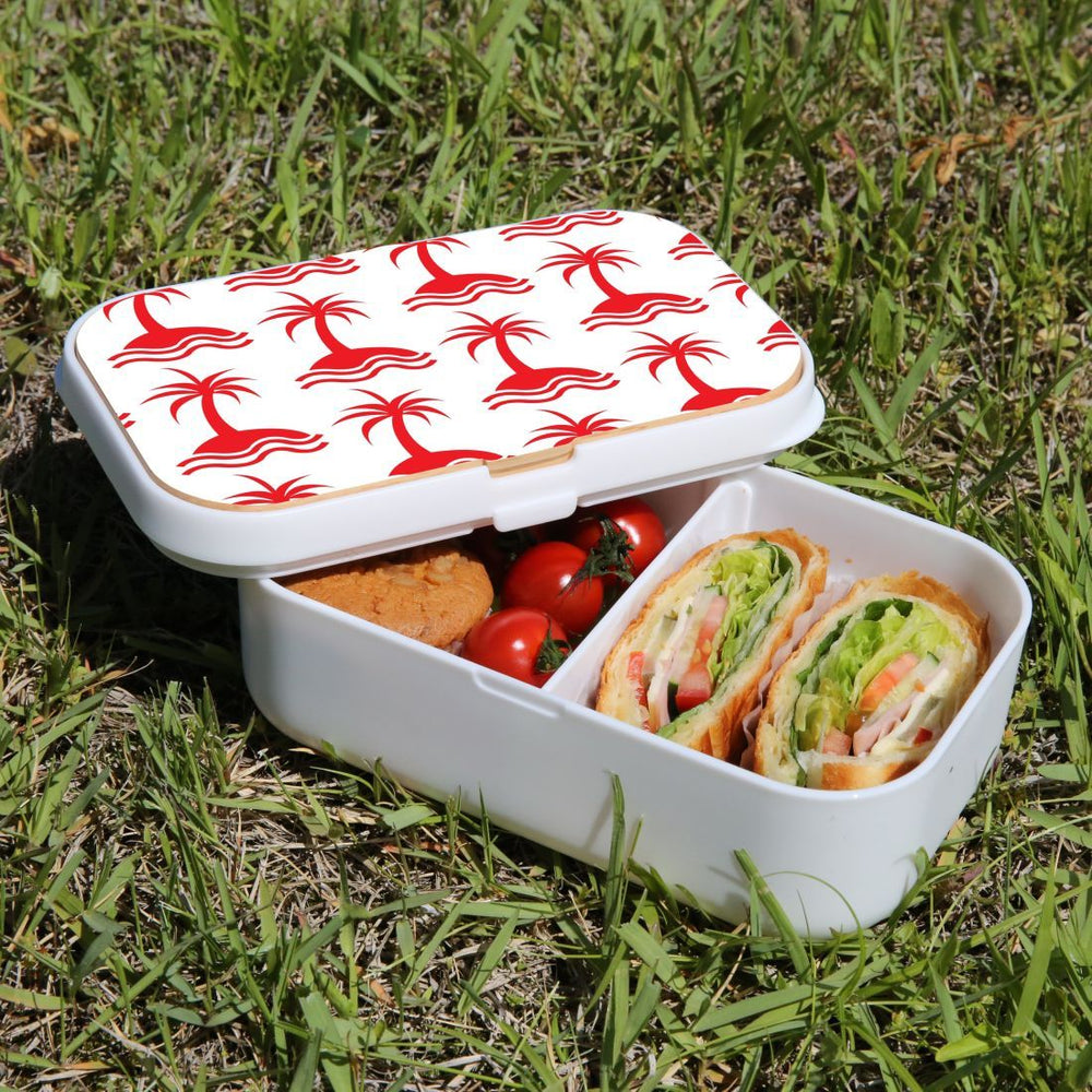 Lunch Box Food Container Snack Picnic Authentic Wood Strap Cutlery Palm Trees