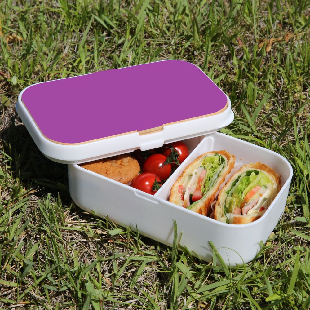 Lunch Box Food Container Snack Picnic Authentic Wood Strap Cutlery Purple