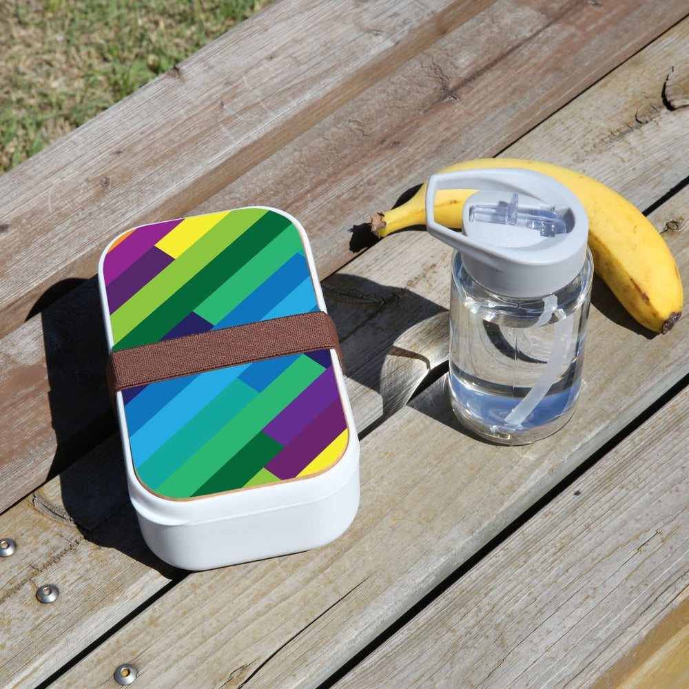 Lunch Box Food Container Snack Picnic Authentic Wood Strap Cutlery Rainbow