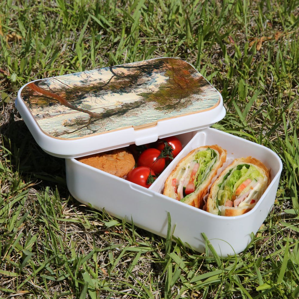 Lunch Box Food Container Snack Picnic Authentic Wood Strap Cutlery Sea Window