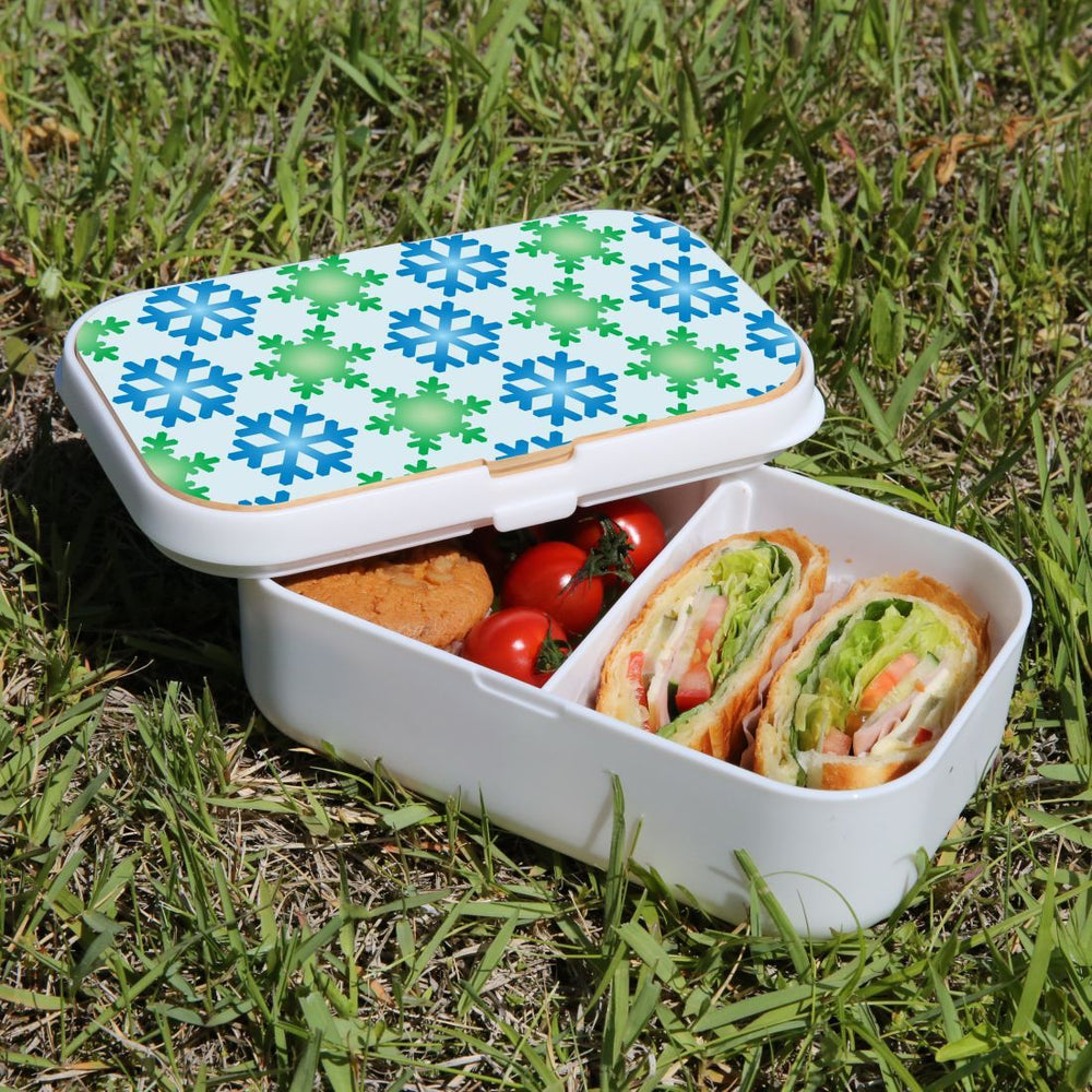 Lunch Box Food Container Snack Picnic Authentic Wood Strap Cutlery Snowflakes