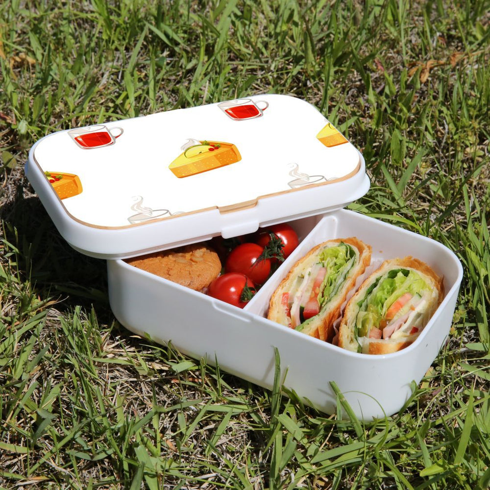 Lunch Box Food Container Snack Picnic Authentic Wood Strap Cutlery Tea and Pie
