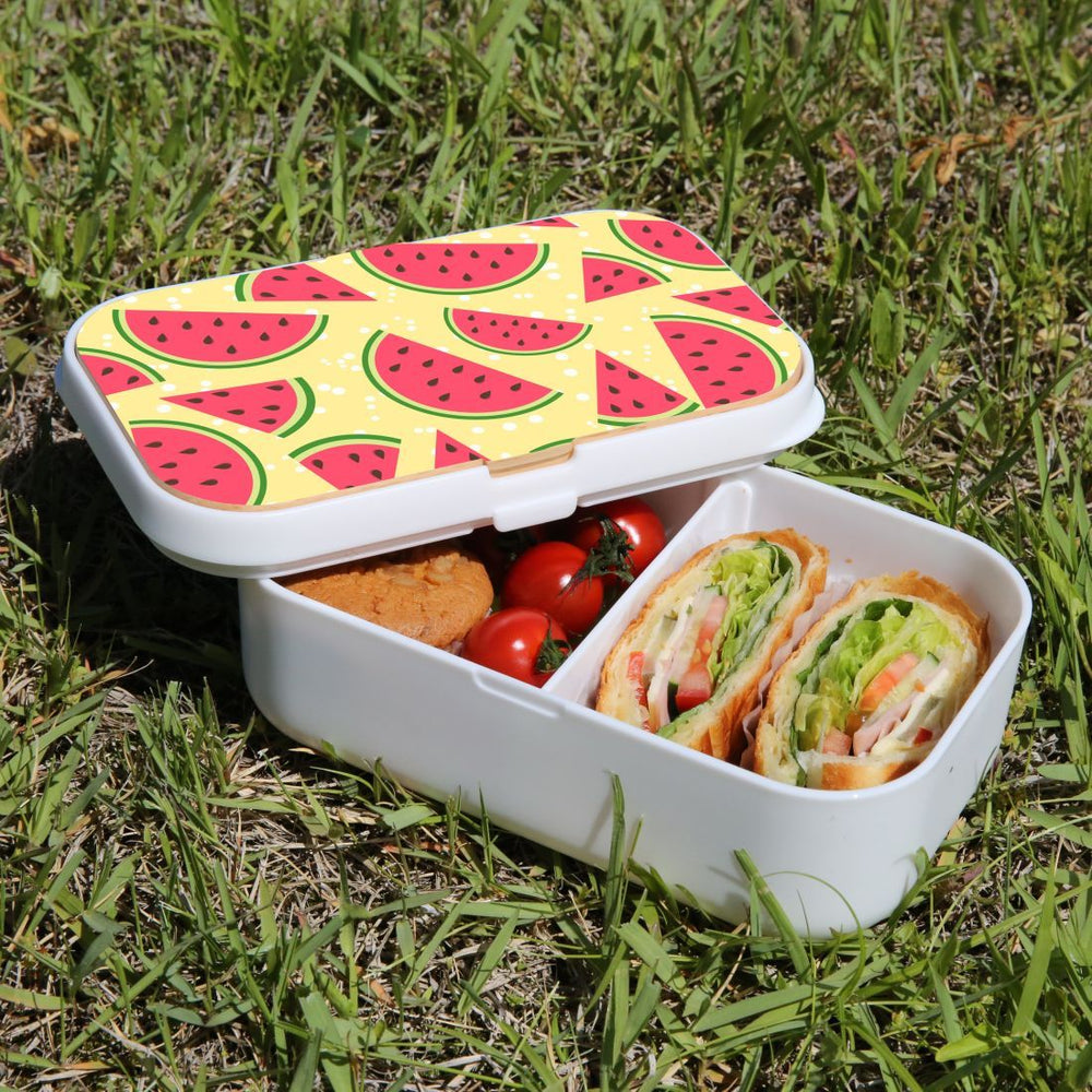 Lunch Box Food Container Snack Picnic Authentic Wood Strap Cutlery Watermelon