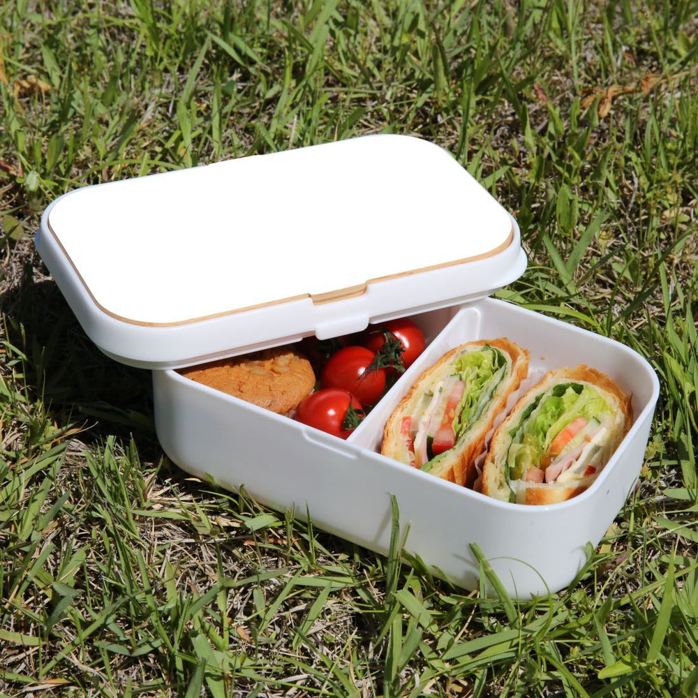 Lunch Box Food Container Snack Picnic Authentic Wood Strap Cutlery White