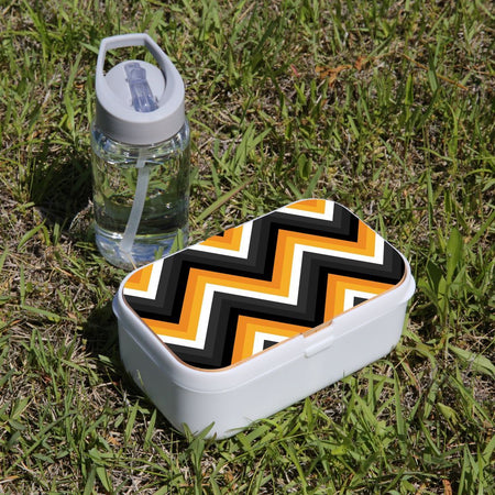 Lunch Box Food Container Picnic Authentic Wood Strap Cutlery Zigzag Black Orange