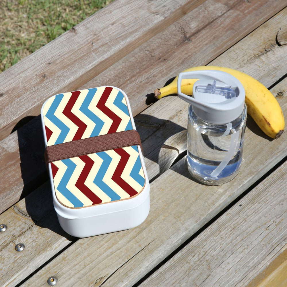 Lunch Box Food Container Picnic Authentic Wood Strap Cutlery Zigzag Blue Red