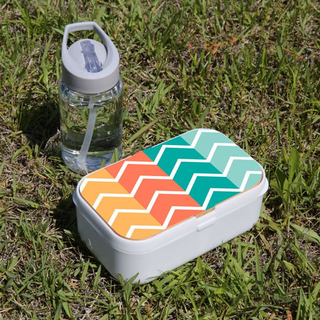 Lunch Box Food Container Picnic Authentic Wood Strap Cutlery Zigzag Colorful