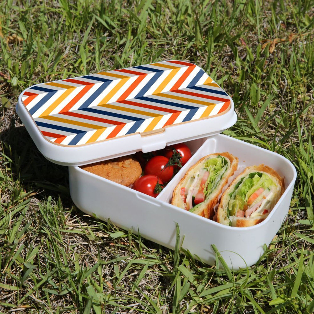 Lunch Box Food Container Picnic Authentic Wood Strap Cutlery Zigzag Left Right