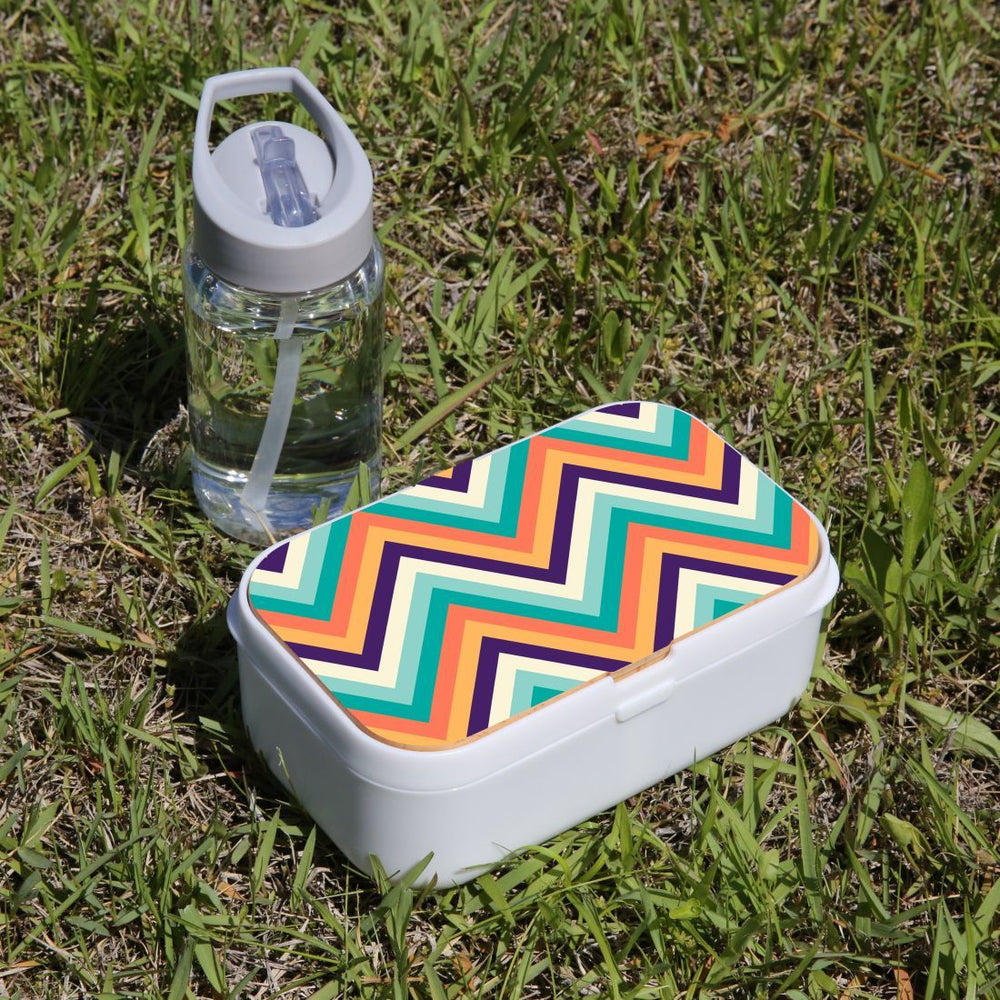 Lunch Box Food Container Picnic Authentic Wood Strap Cutlery Zigzag Rainbow