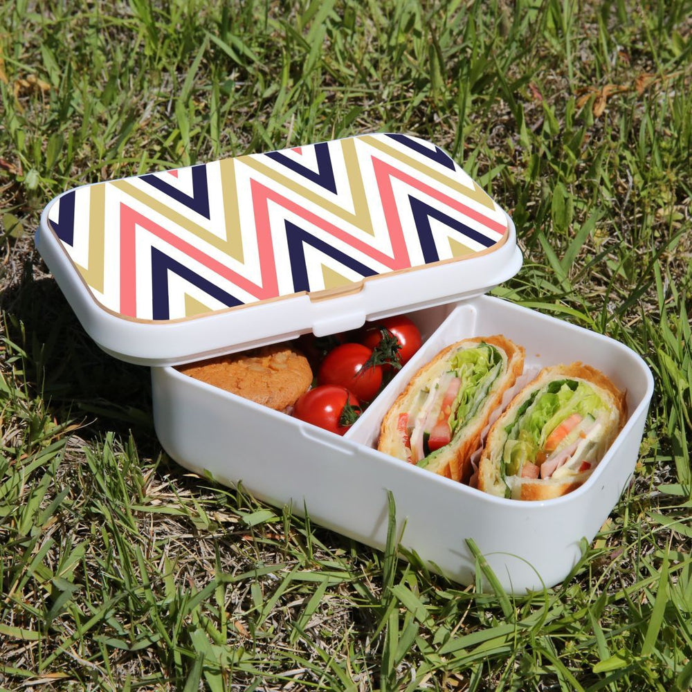 Lunch Box Food Container Authentic Wood Strap Cutlery Zigzag Salmon Purple