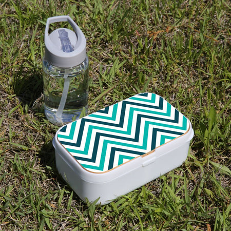 Lunch Box Food Container Picnic Authentic Wood Strap Cutlery Zigzag Turquoise