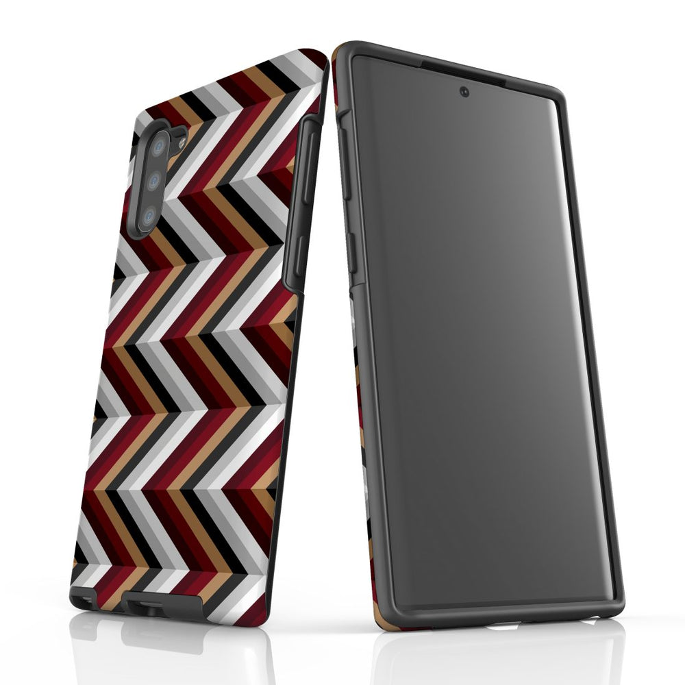For Samsung Galaxy Note 10 Protective Case, Zigzag Black Brown Red Pattern