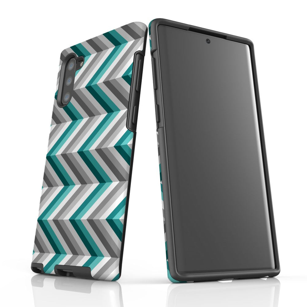 For Samsung Galaxy Note 10 Protective Case, Zigzag Blue Grey Pattern