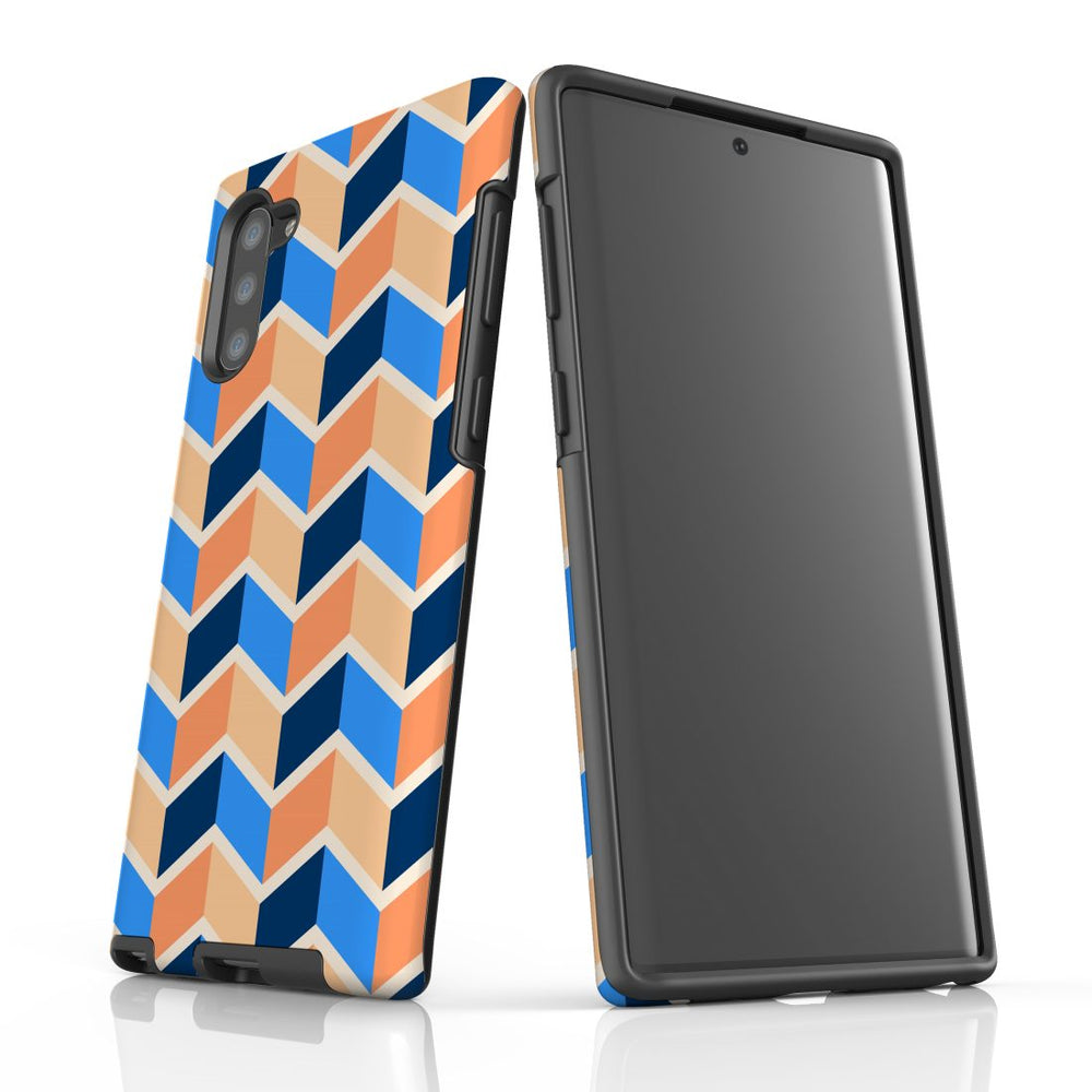 For Samsung Galaxy Note 10 Protective Case, Zigzag Blue Orange Pattern
