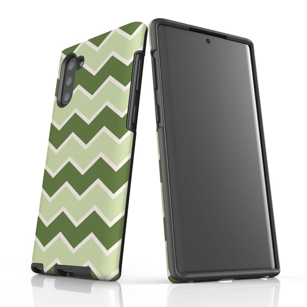 For Samsung Galaxy Note 10 Protective Case, Zigzag Green Pattern
