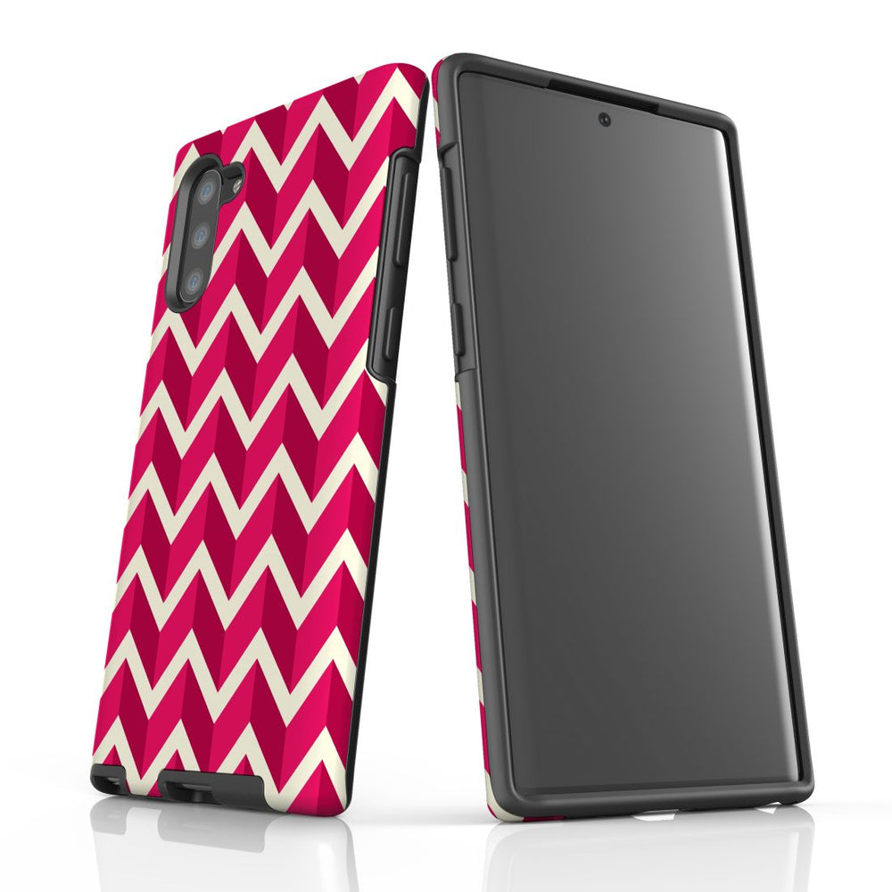 For Samsung Galaxy Note 10 Protective Case, Zigzag Magenta Pattern