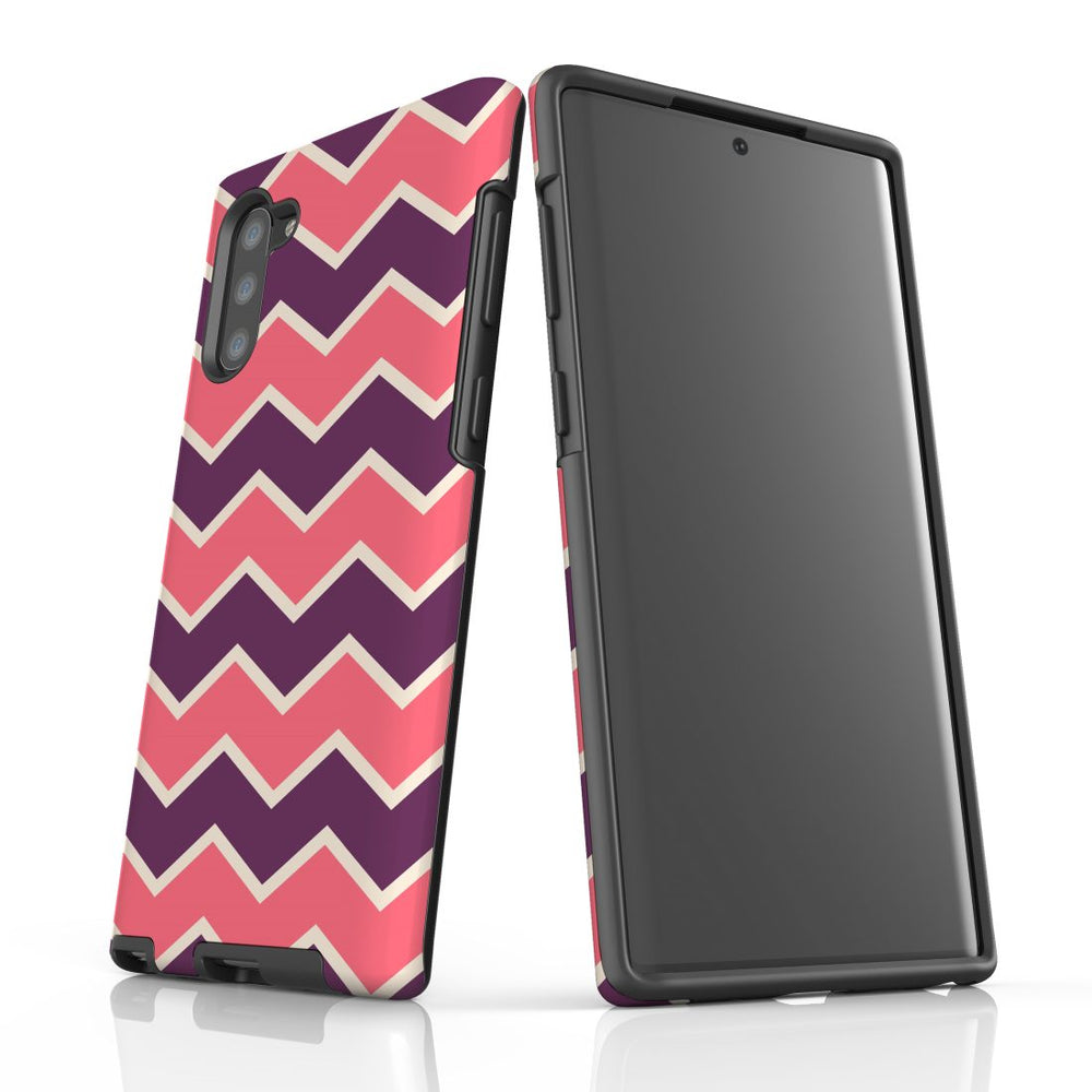 For Samsung Galaxy Note 10 Protective Case, Zigzag Pink Purple Pattern