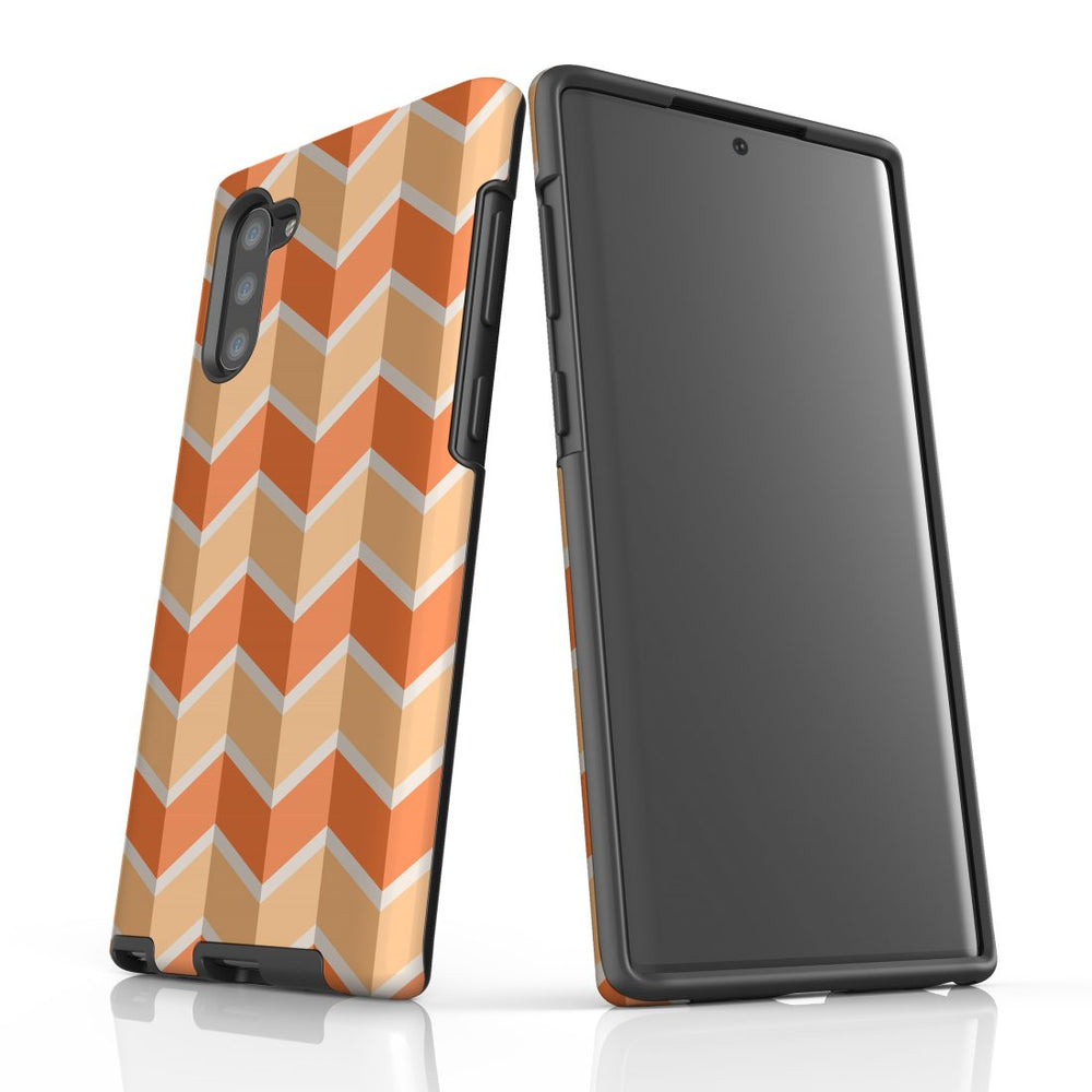 For Samsung Galaxy Note 10 Protective Case, Zigzag Salmon Pattern