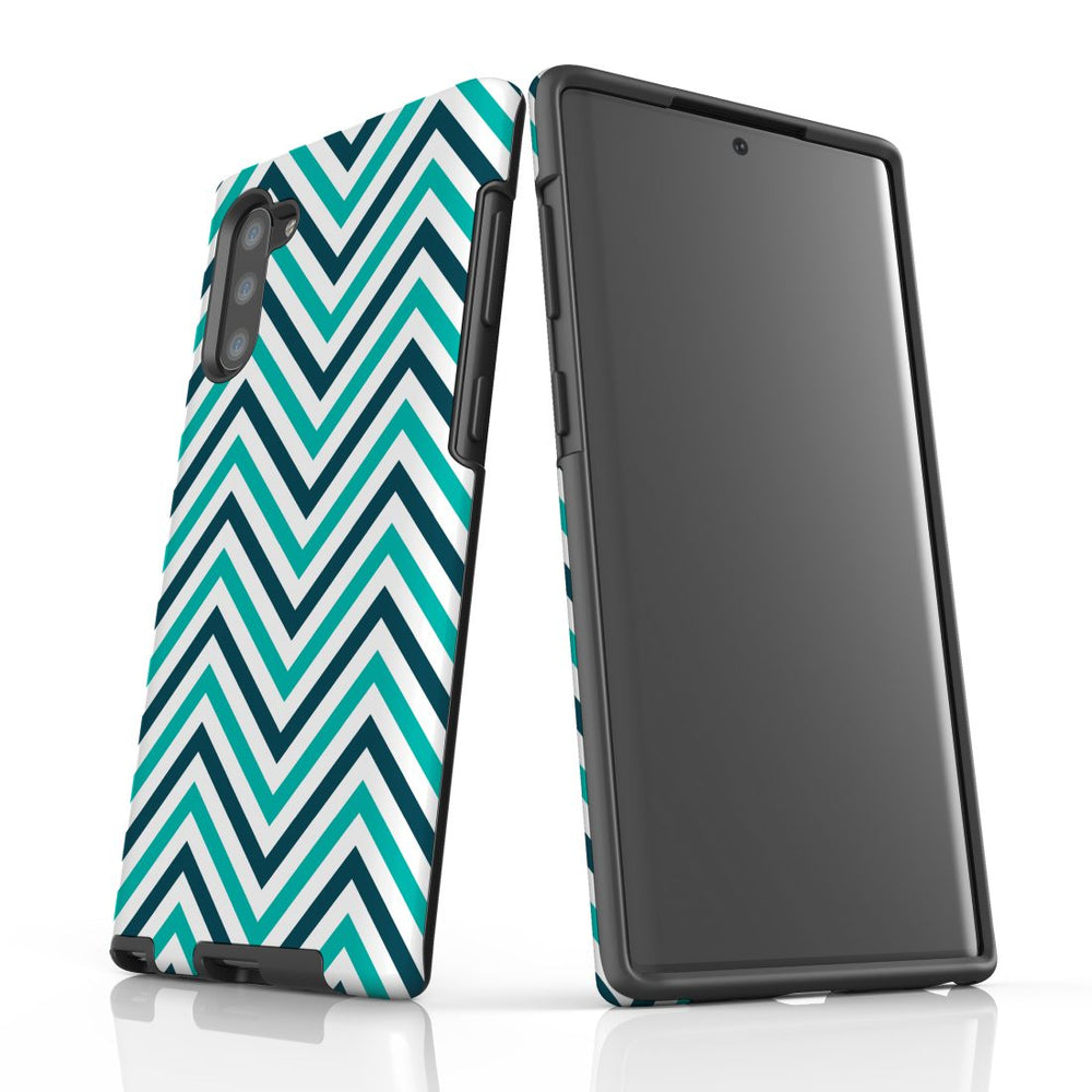 For Samsung Galaxy Note 10 Protective Case, Zigzag Turquoise Pattern