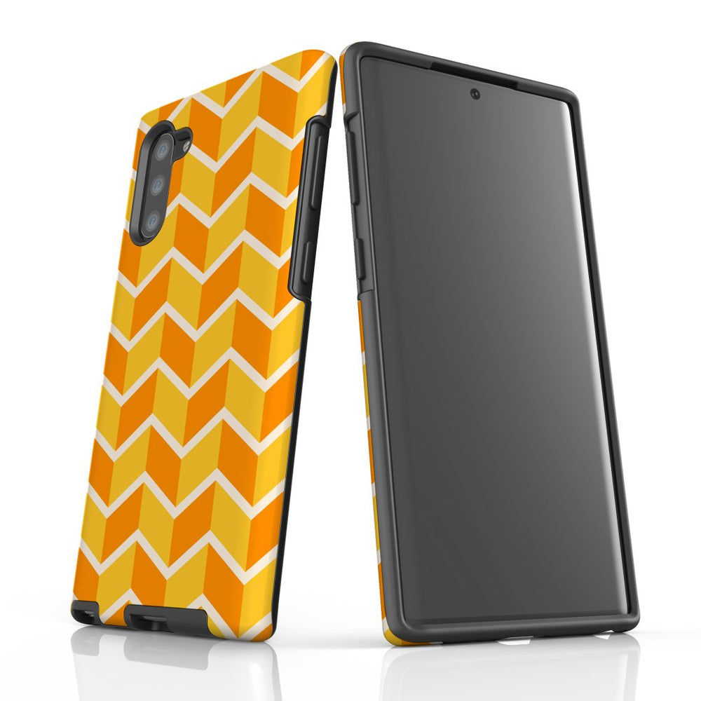 For Samsung Galaxy Note 10 Protective Case, Zigzag Yellow Orange  Pattern