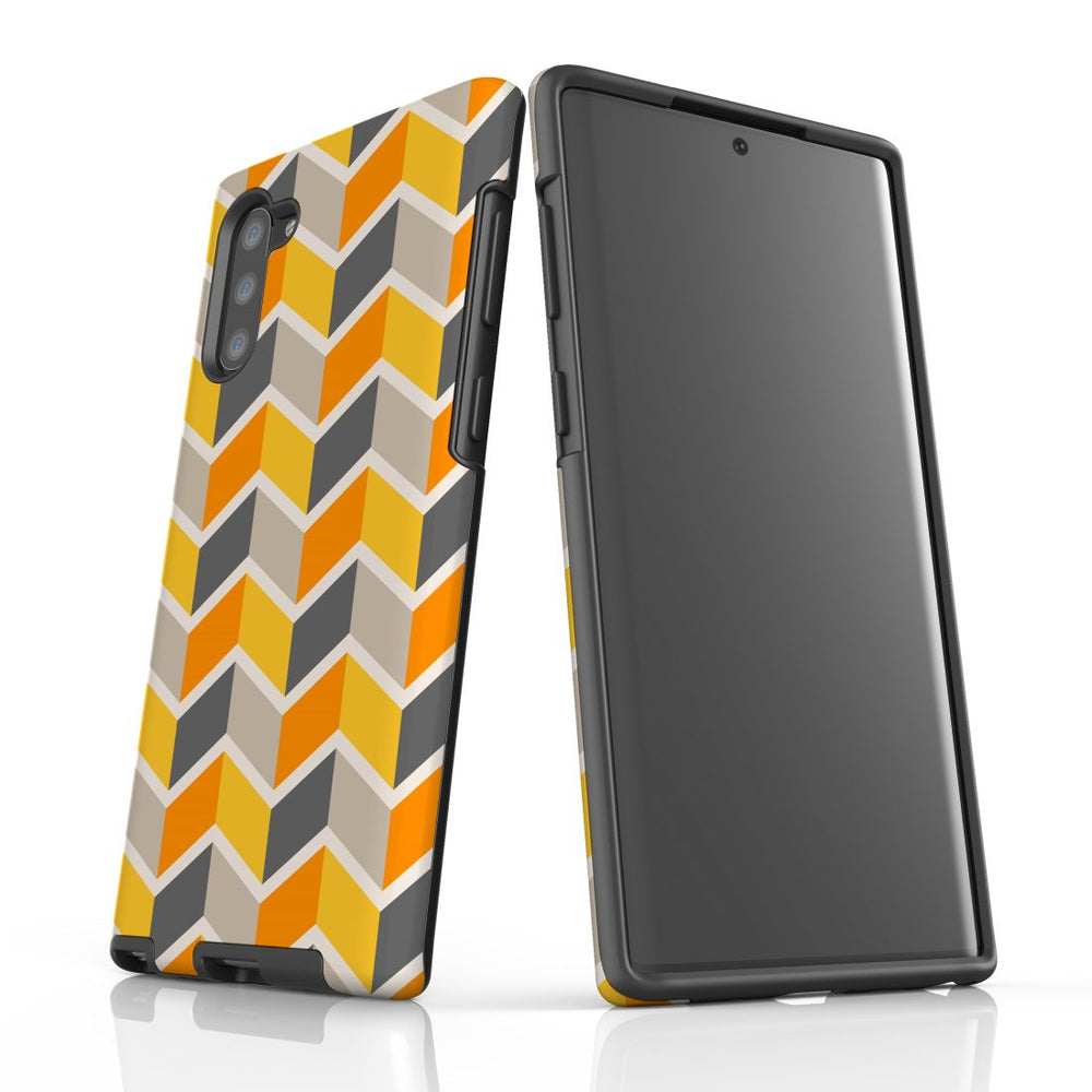 For Samsung Galaxy Note 10 Protective Case, Zigzag Yellow Pattern