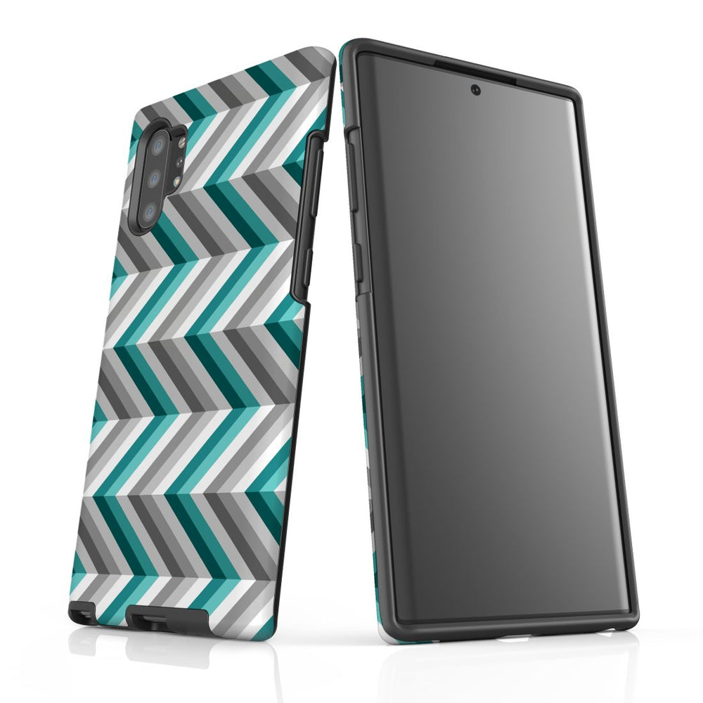 For Samsung Galaxy Note 10+ Plus/Note 10/Note 9/8 Protective Case, Zigzag Blue Grey