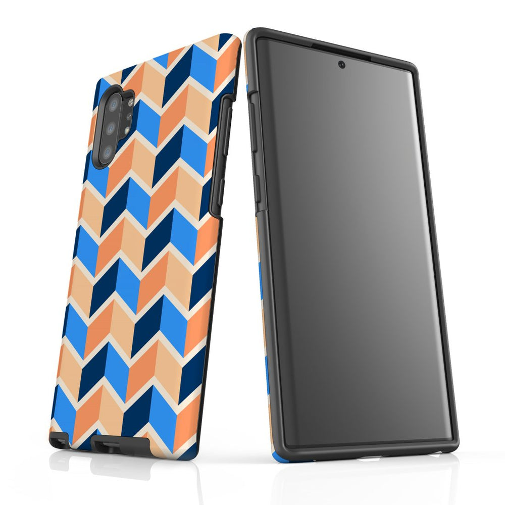 For Samsung Galaxy Note 10+ Plus/Note 10/Note 9/8 Protective Case, Zigzag Blue Orange