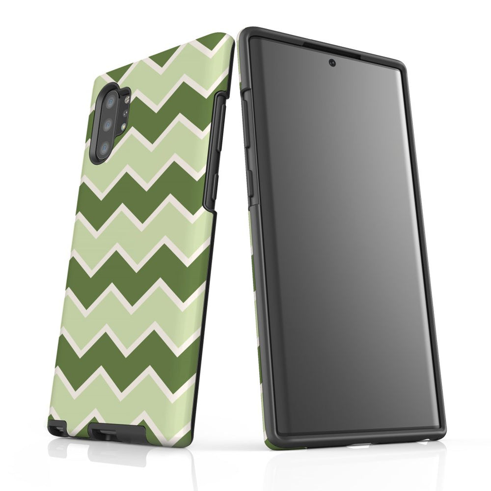 For Samsung Galaxy Note 10+ Plus/Note 10/Note 9/8 Protective Case, Zigzag Green