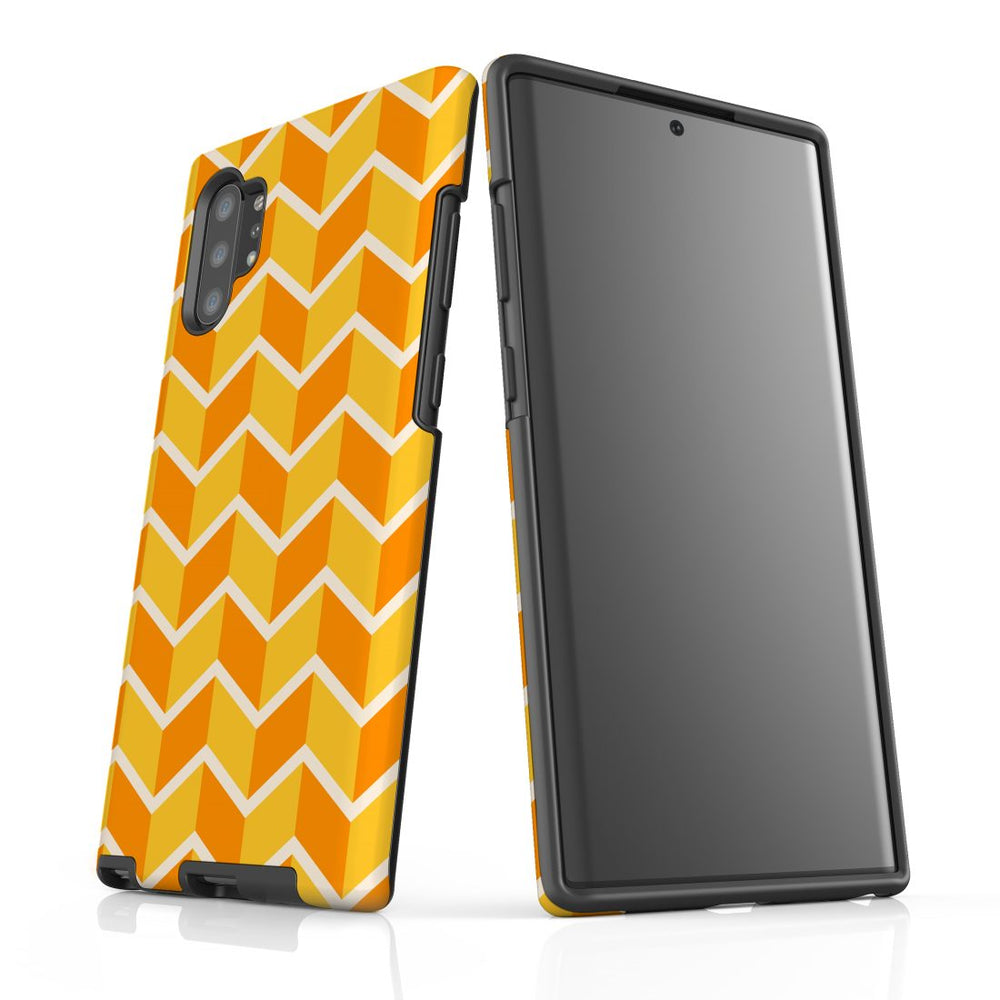 For Samsung Galaxy Note 10+ Plus/Note 10/Note 9/8 Protective Case, Zigzag Yellow Orange