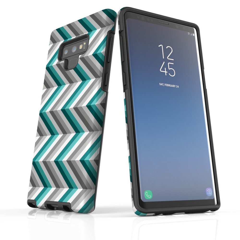 For Samsung Galaxy Note 9 Protective Case, Zigzag Blue Grey Pattern