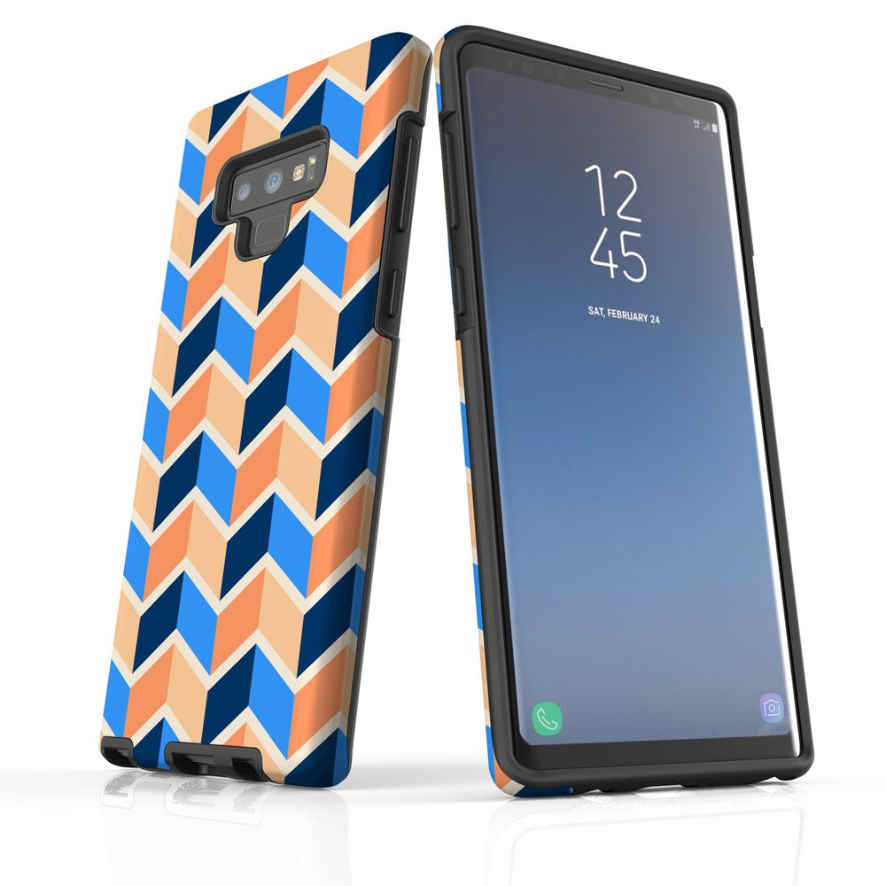 For Samsung Galaxy Note 9 Protective Case, Zigzag Blue Orange Pattern