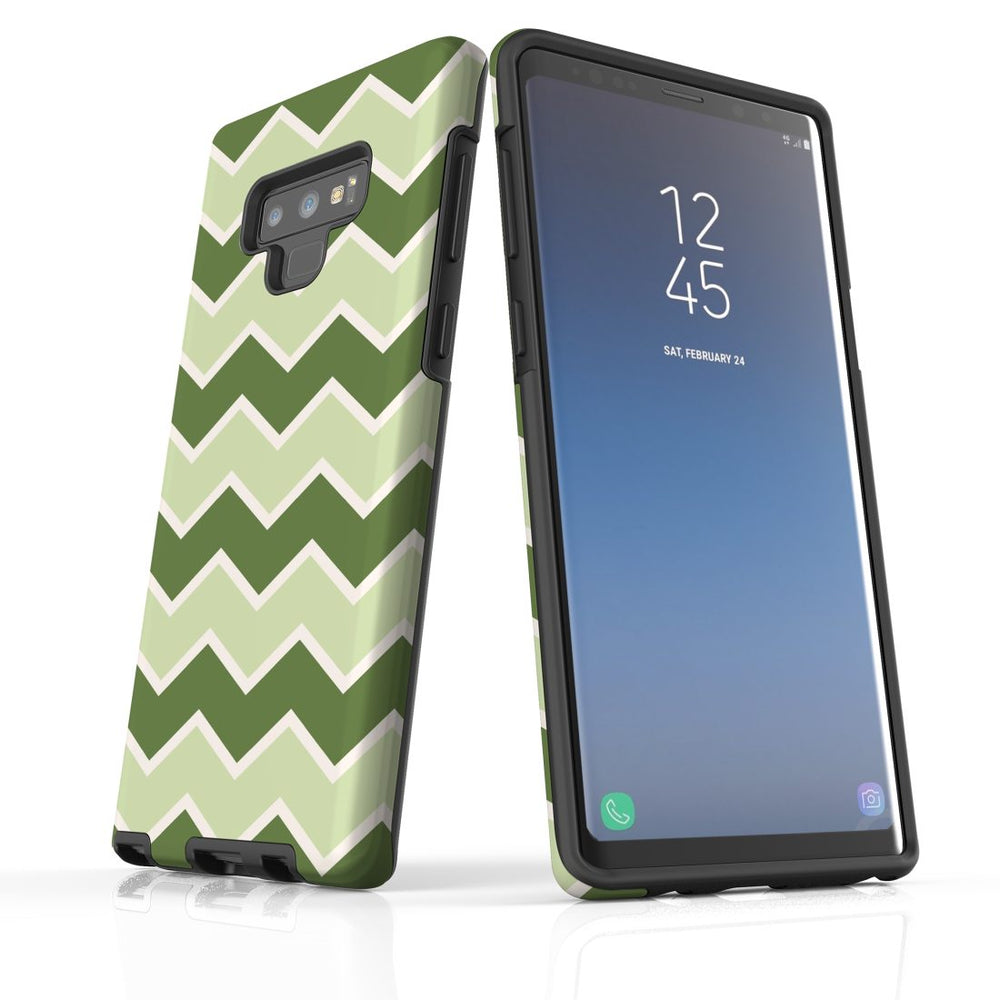 For Samsung Galaxy Note 9 Protective Case, Zigzag Green Pattern