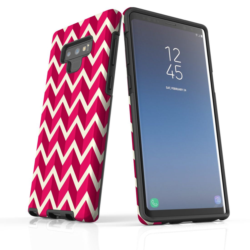 For Samsung Galaxy Note 9 Protective Case, Zigzag Magenta Pattern