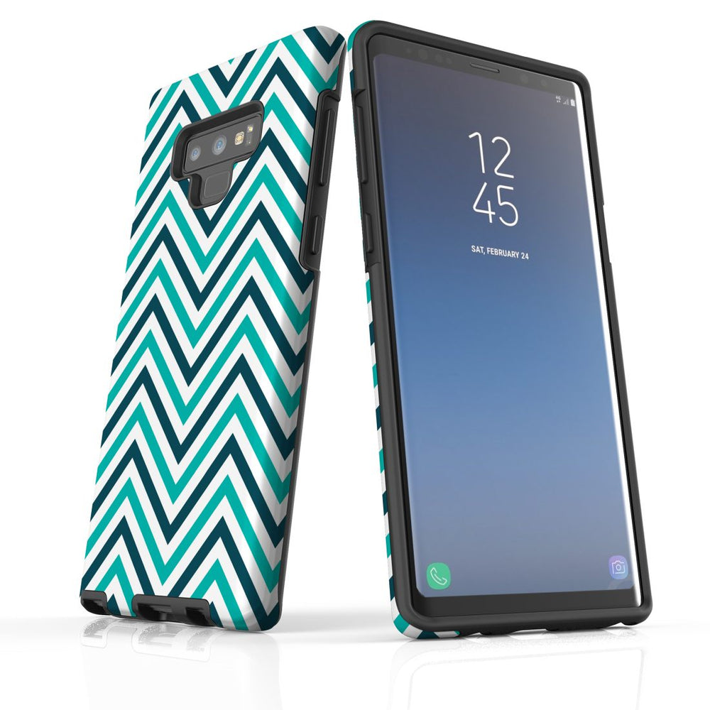 For Samsung Galaxy Note 9 Protective Case, Zigzag Turquoise Pattern