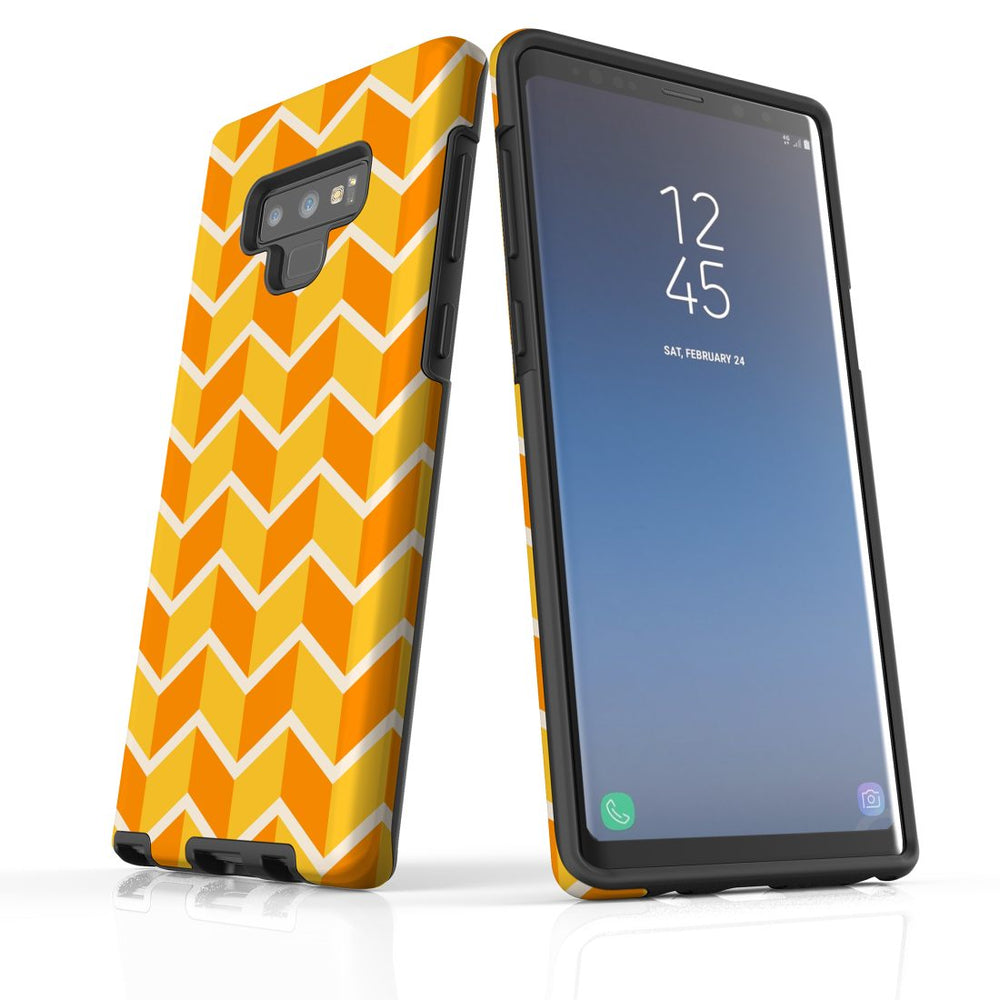 For Samsung Galaxy Note 9 Protective Case, Zigzag Yellow Orange  Pattern