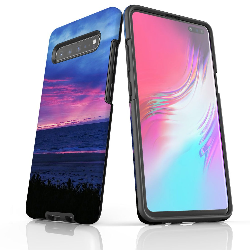 Samsung Galaxy S10 5G Case Protective Cover, Sunset at the Beach