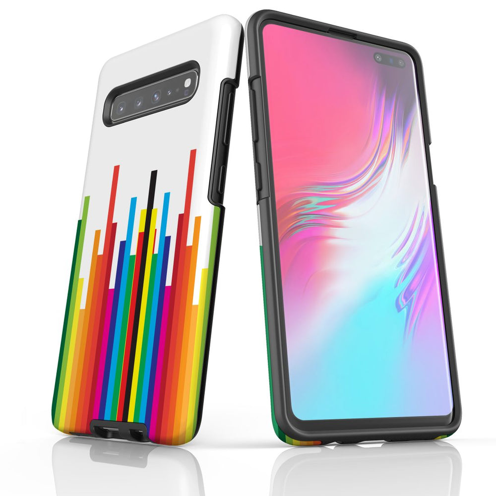For Samsung Galaxy S10 5G Protective Case, Rainbow Bar Pattern