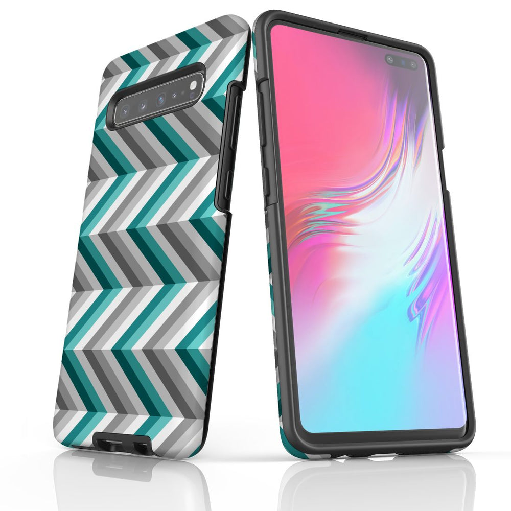 For Samsung Galaxy S10 5G Protective Case, Zigzag Blue Grey Pattern