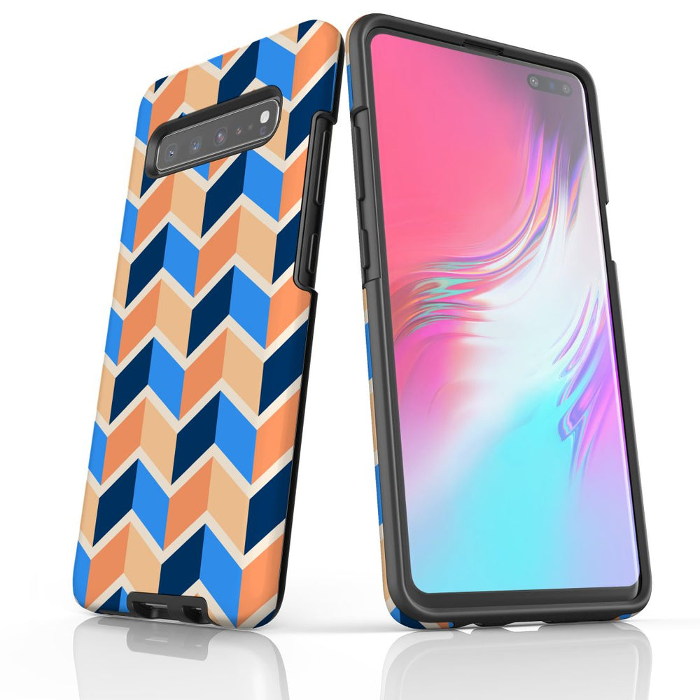For Samsung Galaxy S10 5G Protective Case, Zigzag Blue Orange Pattern