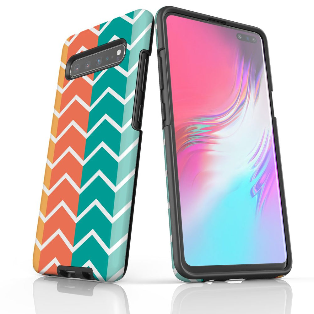 For Samsung Galaxy S10 5G Protective Case, Zigzag Colorful Pattern