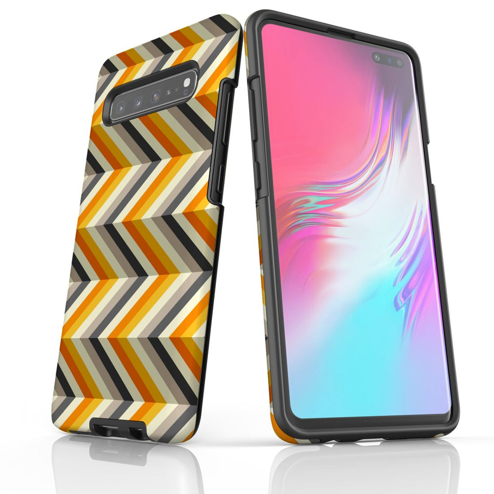 For Samsung Galaxy S10 5G Protective Case, Zigzag Left Right Yellow Pattern