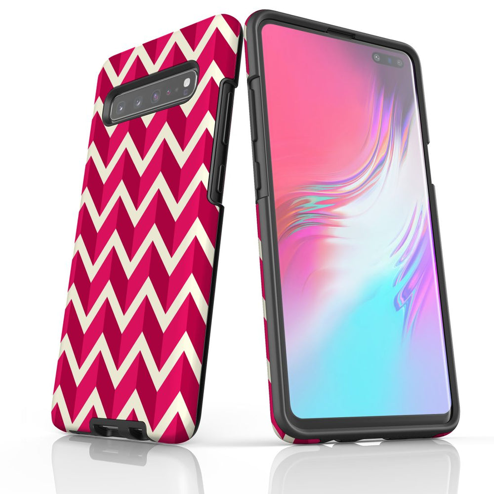 For Samsung Galaxy S10 5G Protective Case, Zigzag Magenta Pattern