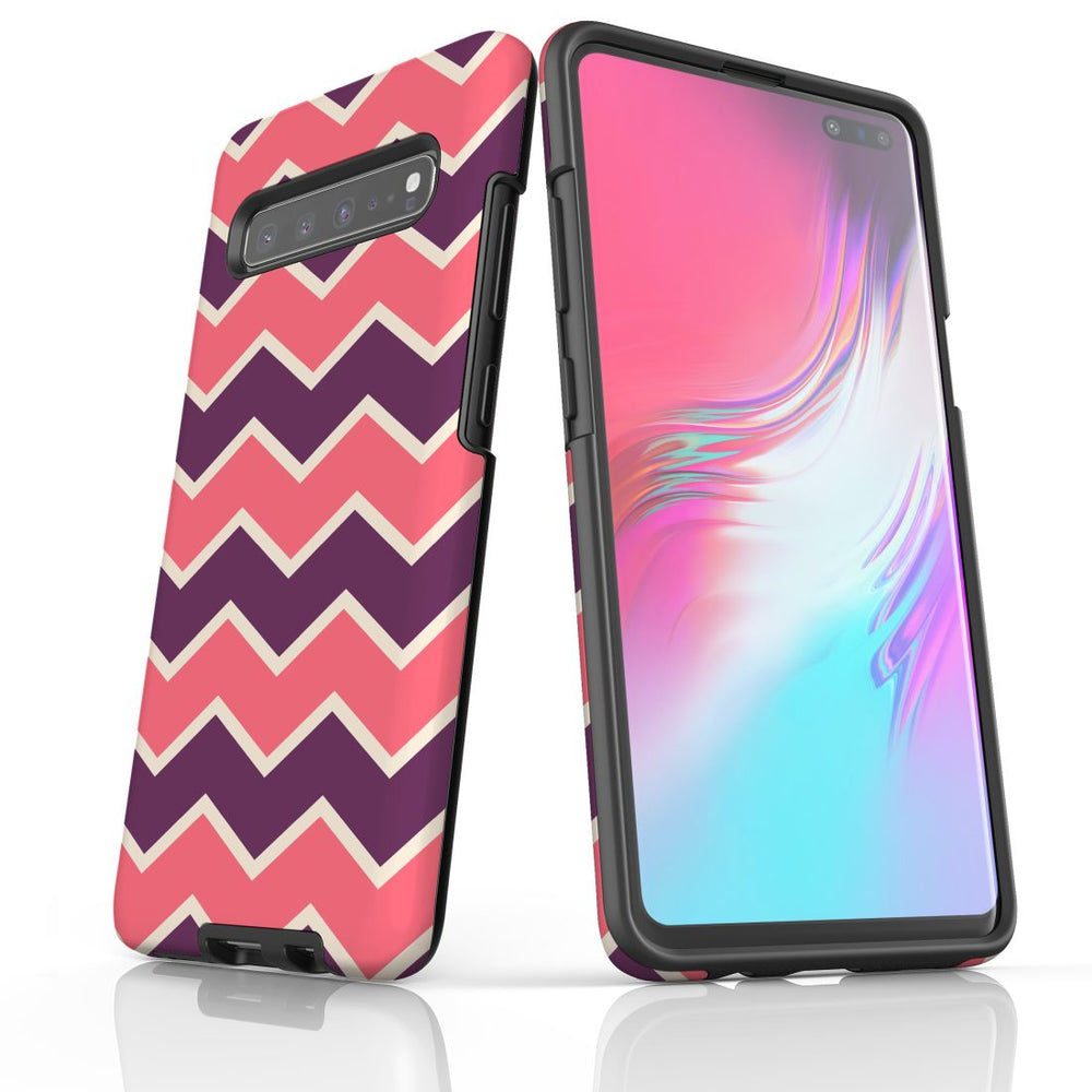 For Samsung Galaxy S10 5G Protective Case, Zigzag Pink Purple Pattern