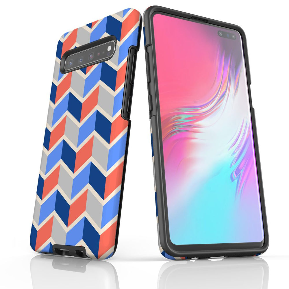 For Samsung Galaxy S10 5G Protective Case, Zigzag Salmon Blue Pattern
